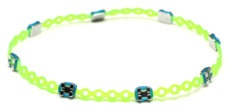 Neon Green and Blue Braced-Let...too funny!  Made out of orthodontist brace gear.
