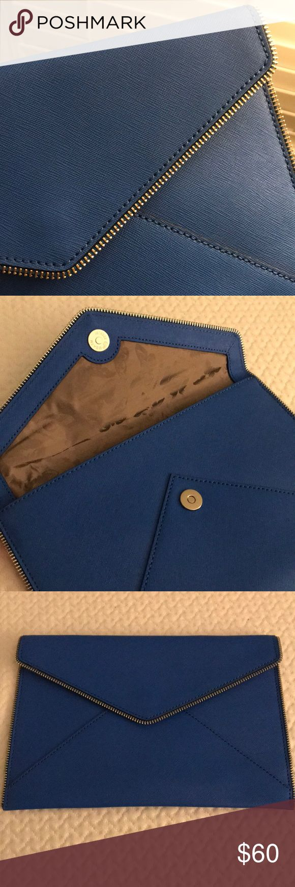Rebecca Minkoff Saffiano blue clutch Used only once. Beautiful blue envelope clutch from Rebecca Minkoff. Mint condition. This purse adds the perfect pop of color to your outfit. Saffiano leather!! No dust bag. Rebecca Minkoff Bags Clutches & Wristlets
