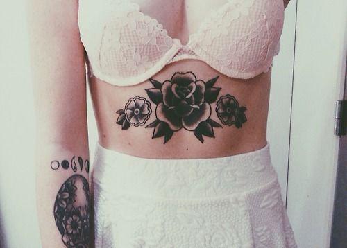 Black Roses Belly Tattoo http://tattooideas247.com/black-roses-belly-tattoo/