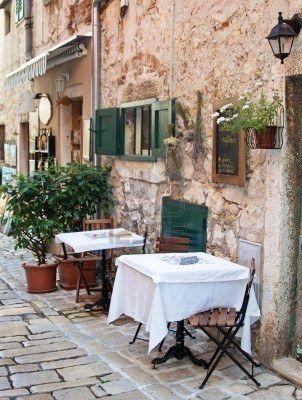 Street cafe in old town Rovinj, istria, Croatia