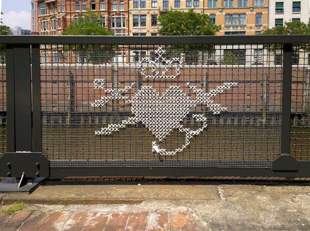 Fancy - Giant Cross-Stitch Decoration on utdoor Furniture, Fences, ETC. /;)