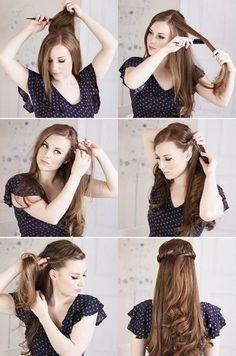 Peinado semirecogido para pelo ondulado – Paso a paso | Decoración de Uñas - Manicura y Nail Art