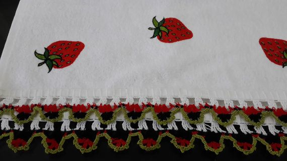 Vintage handmade printed kitchen towel by LAMEDORE on Etsy