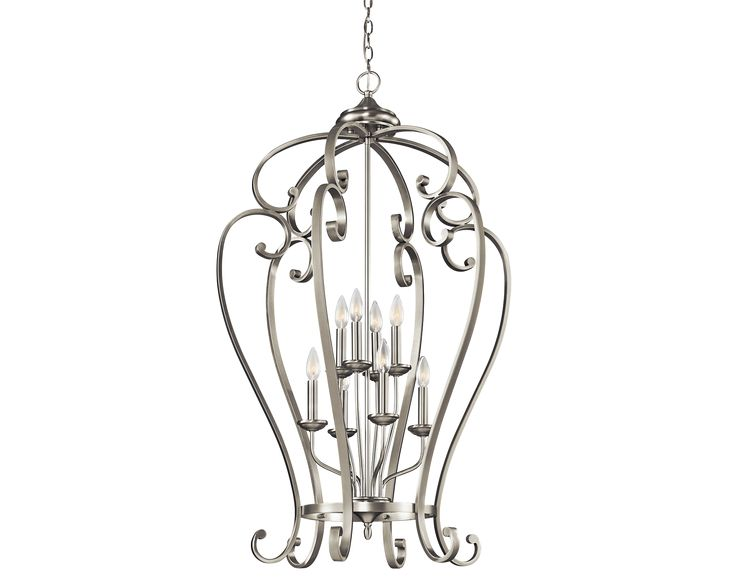 group 3 monroe collection 2story foyer chandelier foyer cage in brushed nickel - Foyer Chandeliers