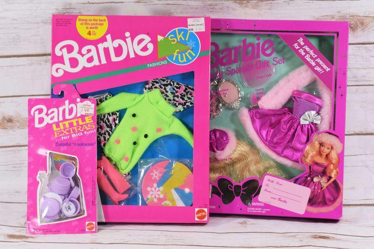 Lot of 3 Barbie Sets Party Sparkle Gift Set Ski Fun Fashion & Cookware NIP #Mattel