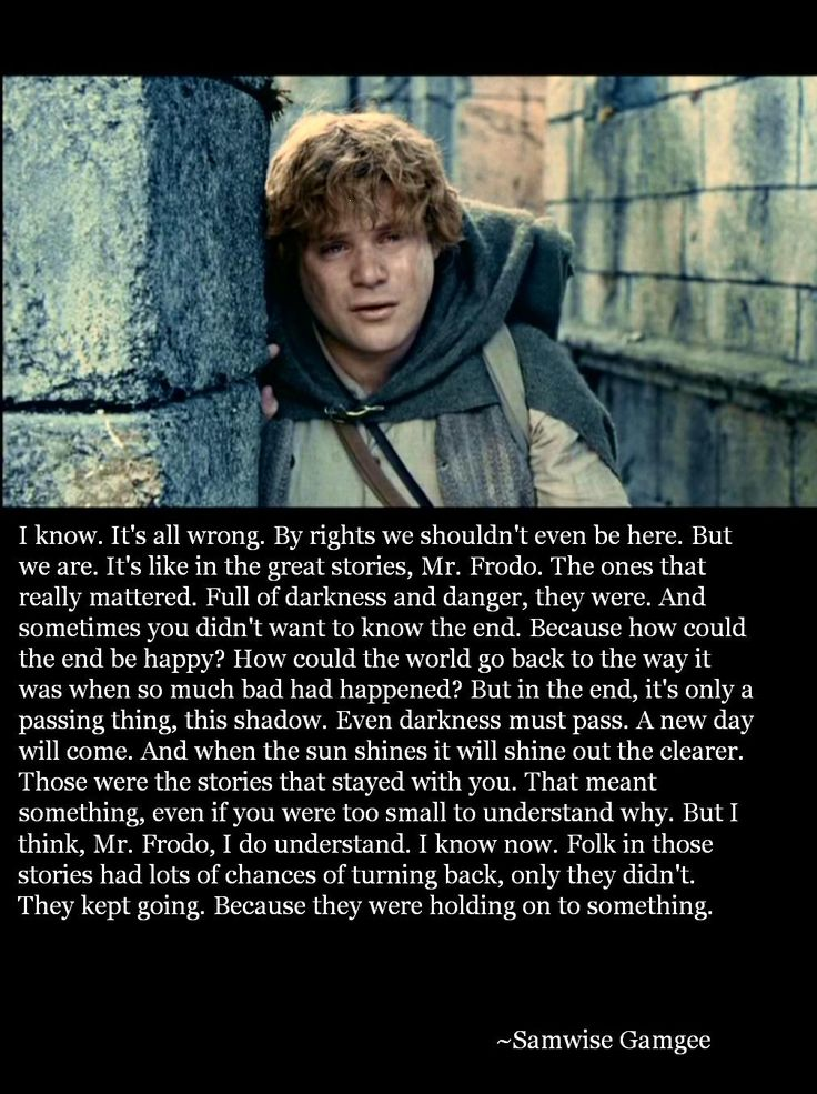 Samwise Gamgee    I absolutely love this. It has and always will be my favorite quote.