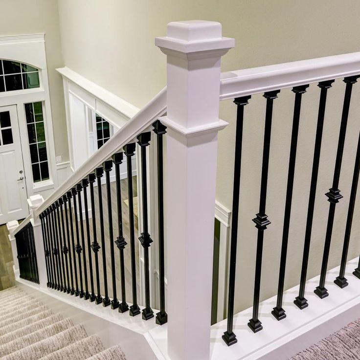 Stair Parts 5 8 In Satin Black Metal Flat Baluster Shoe I340D 000 | Home Depot Handrails Interior | Wrought Iron Railing Ideas | Aluminum | Baluster | Newel | Deck Railing