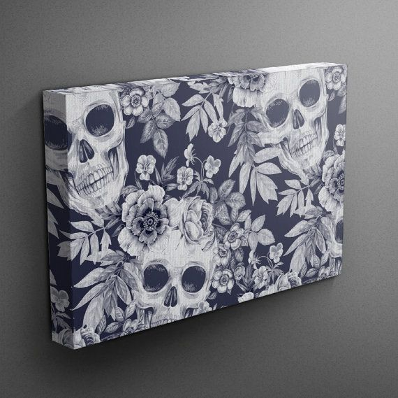 Hey, I found this really awesome Etsy listing at https://www.etsy.com/listing/241712809/blue-skull-print-wall-art-blue-and-white