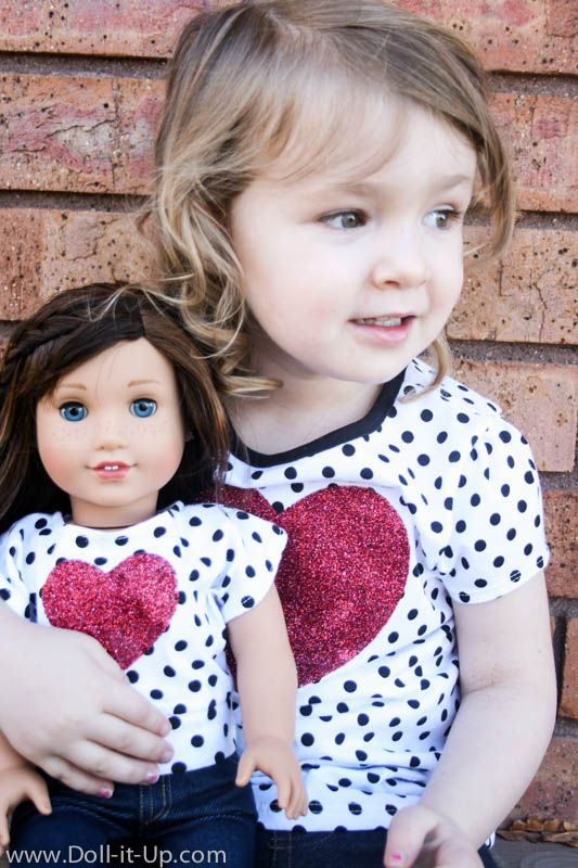 Easy matching Valentines shirts- Buy two shirts on sale.  Sew one into a doll shirt.  Add matching hearts to the front.  I made both of these shirts for $7!
