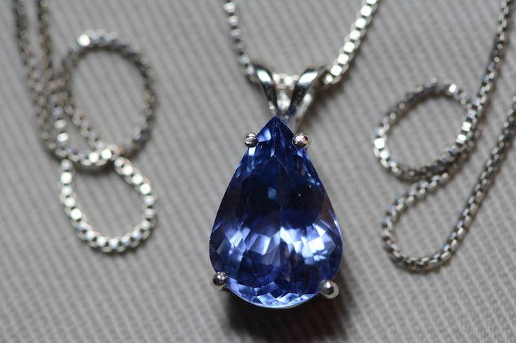 Tanzanite Necklace, Certified Tanzanite Pendant 4.45 Carats Pear Cut, Sterling Silver, Real Genuine Natural Blue Tanzanite Jewelry