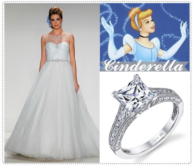 Embrace tradition with this Cinderella ball gown silhouette wedding dress. A Timeless princess cut engagement ring like the Sylvie Collection engagement ring bellow will compliment the delicate clean lines of the gown.