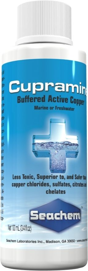 Seachem Cupramine effectively eradicates Oodinium, Cryptocaryon, Amyloodinium, Ichthyophthirius, and other external parasites of both freshwater and marine fish. It is is available in sizes from 100 ml to 20 liters and will treat the smallest aquarium to large aquariums and ponds.