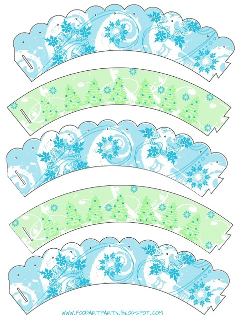 Free Pretty Winter Cupcake Wrappers :: for the pastry chefs <3