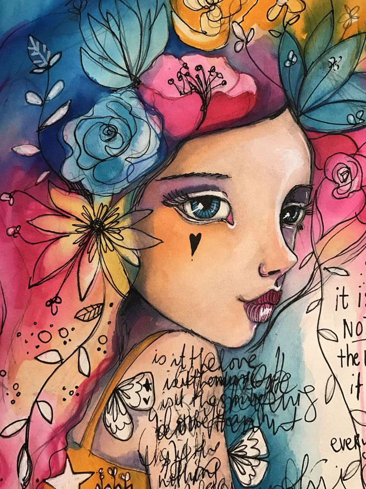 """Have very little time available lately (2 mega extra projectsgoing on on top of the normal workload) so am continuing to work in the """"flower girls"""". :) #mixedmedia"""