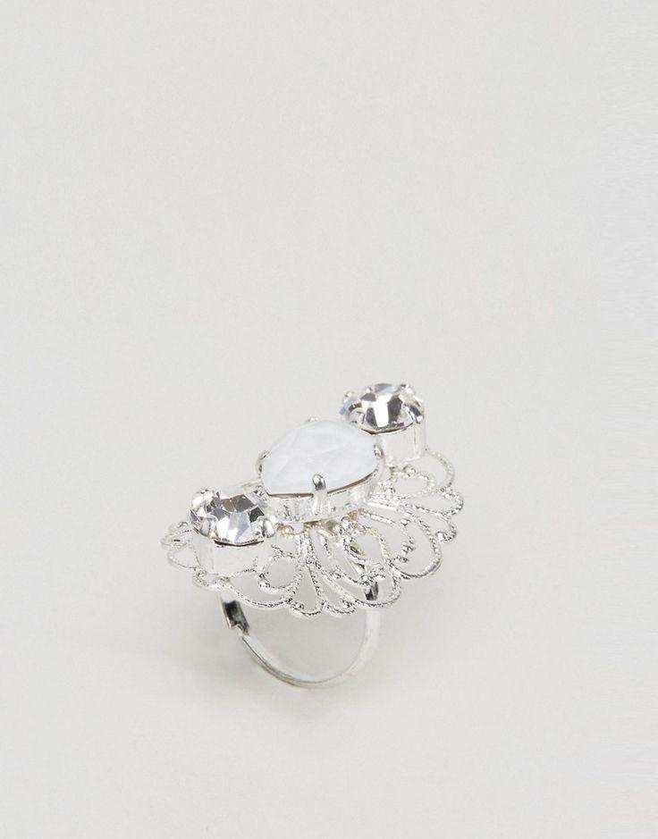 Krystal London Swarovski Crystal Regal Ring - Silver