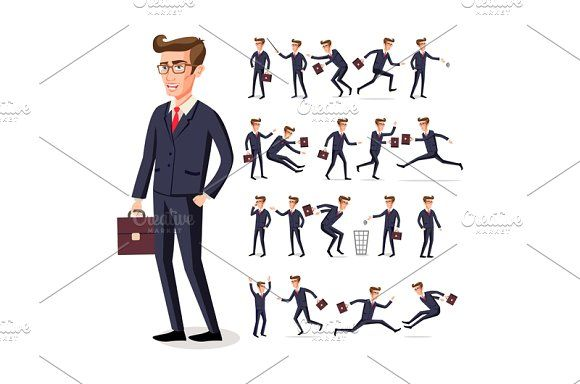 set businessman in dark suit vector by Rommeo79 on @creativemarket