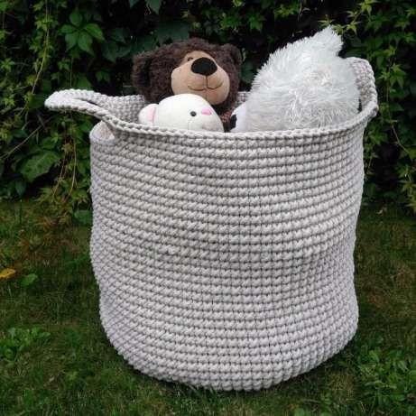 Kosz ze sznurka na zabawki wykonany na szydełku . 100% handmade #basket #crochet #beige #cottoncord #shnoorki #handmade #rękodzieło #gniazdowanie