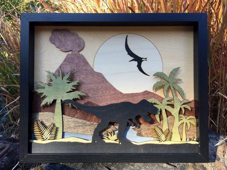 Dinosaur T-Rex Jurassic Landscape / 3D Laser Cut Shadow Box Wood Scene Inlaid / Volcano / Pterodactyl / Handcrafted / Moon / Prehistoric