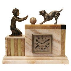 Art Deco Reloj de la chimenea por A.Hebert, Cherbourg, Francia. alrededor de 1930