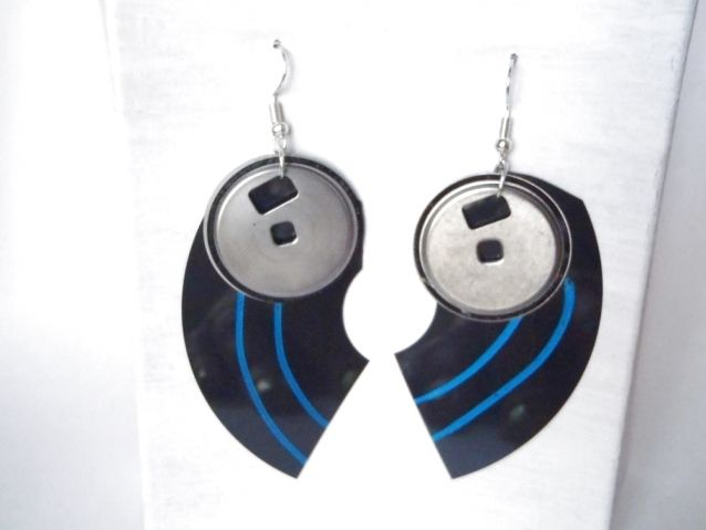 floppy disk earrings geek computer pc vintage gift for anniversary hipster techie earrings<br ></a>n.1 pair of funny earrings<br />made with vintage floppy disk components I painted with metallic blue turquoise varnish<br />gift for hipster, her, teens, cool, geek, nerd, computer, ...
