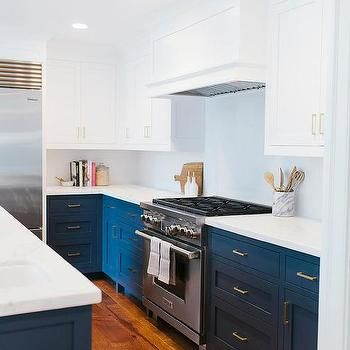 White Top Cabinets Navy Bottom Cabinets