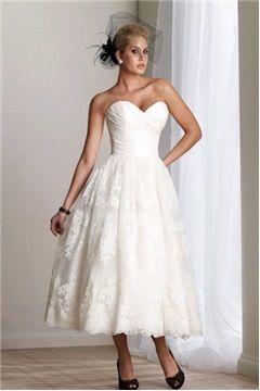 1569 Lace Wedding Dress Mid Length Open Backed Taffeta Weddings Vow Dresses
