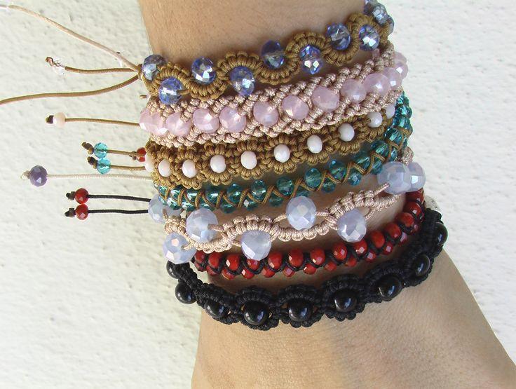 Macrame bracelet with beads Braccialetti macrame' con cristalli ΒΡΑΧΙΟΛΙΑ ΜΑΚΡΑΜΕ ΜΕ ΚΡΥΣΤΑΛΛΑ
