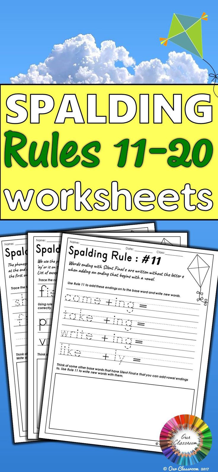 Learning the Spalding Rules? This product contains an individual worksheet for each of the Spalding Rules 11-20. It includes phonogram pronunciation, spelling and language rules. These worksheets include tasks to help students understand the different rules and what they do. Perfect for literary centers, homework sheets, time fillers and many more. These worksheets are essential to supplement your Writing Road to Reading program!