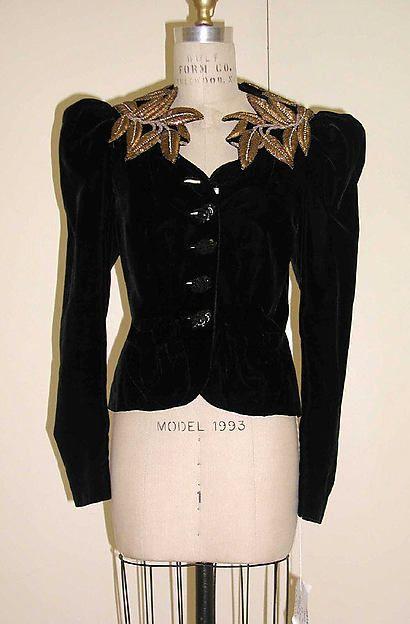 Evening jacket (image 1)   House of Schiaparelli   French   fall 1938   silk, metallic thread   Metropolitan Museum of Art   Accession Number: 1974.338.4