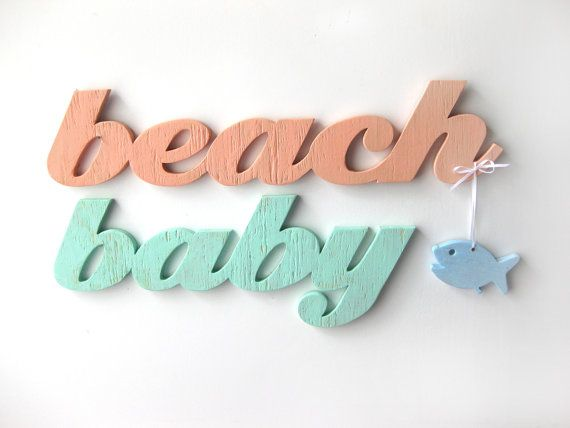 Beach Baby nursery baby shower gift word sign wood by seasawsign, $72.00