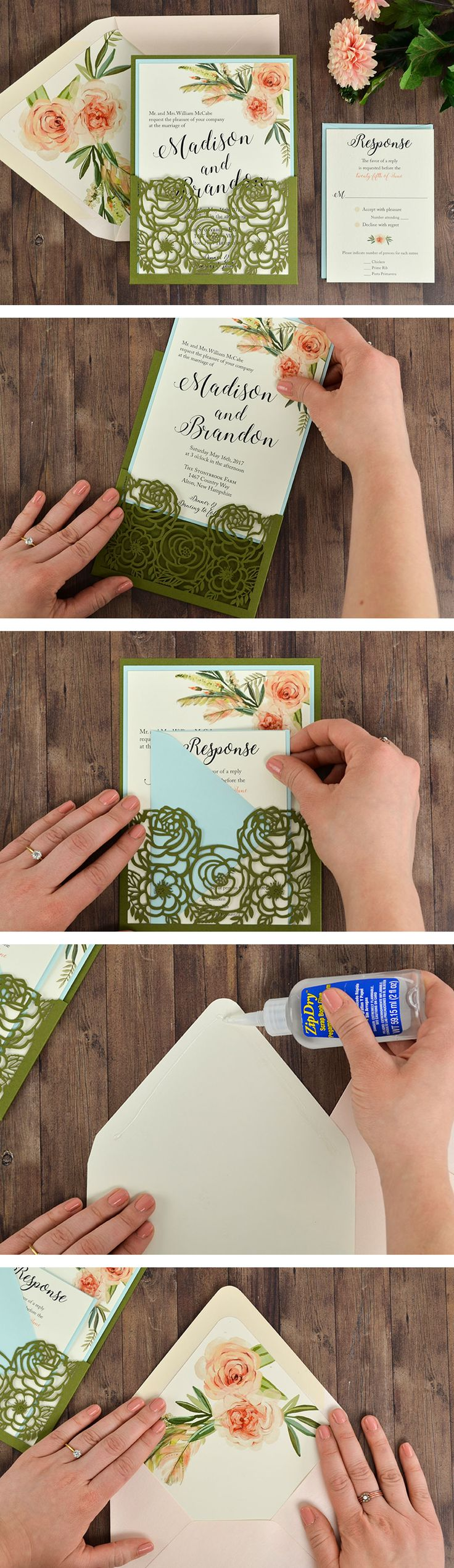 A Laser cut Wedding Invitation that's easy and affordable to DIY. Featuring a free invitation template, floral laser designs, and a green and blush color palette.
