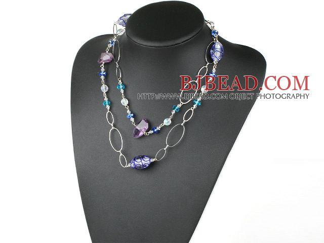 39,4 pollici moda lungo stile ametista glassa colorata collana