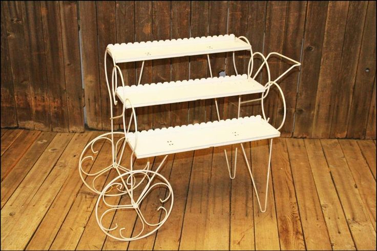 Mid Century Modern Plant Stand Cart white shelf planter metal vintage wire 60s #Unbranded