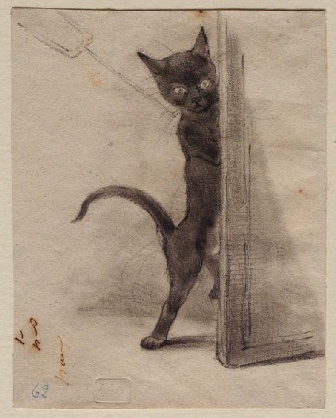 * Petit chat noir en diable - J. J. Grandville