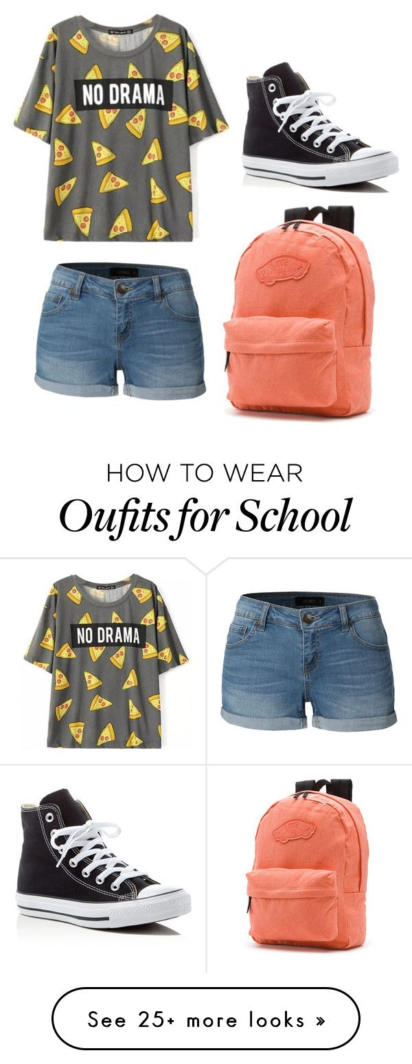 """Casual/School"" by midnightadventures on Polyvore featuring LE3NO, Converse and Vans"