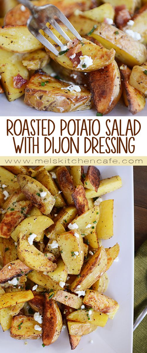 This Roasted Potato Salad with Simple Dijon Dressing and Bacon is the best summer salad ever.