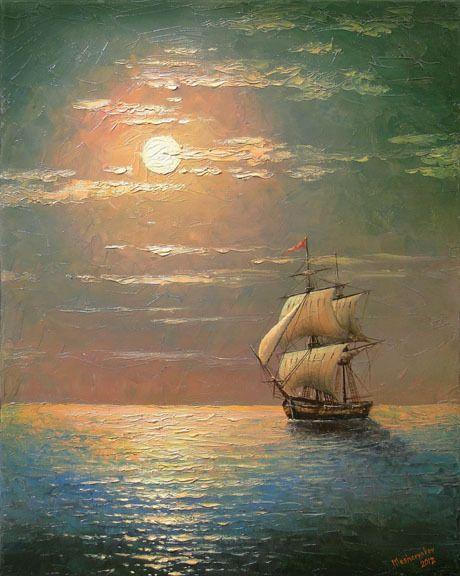 Paintings Of Ships At Sea | ... ORIGINAL OIL PAINTING SEA ABSTRACT Mediterranean Night Tall Ship Moon