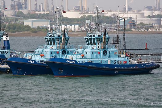 The Solent Towage tugs 'Phenix' and 'Apex' berthed at Fawley refinery