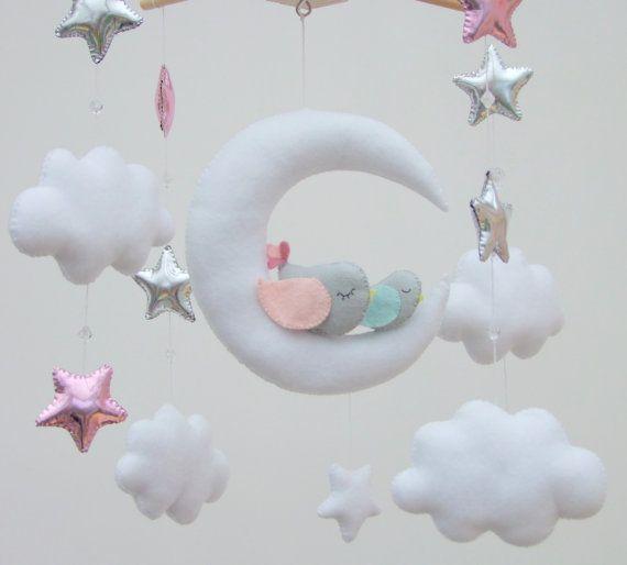 Uccelli uccelli mobili sulla Luna Baby mobile di FeltButtons