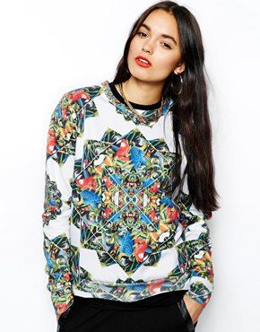 Hype Sweatshirt With All Over Parrot Prism Print
