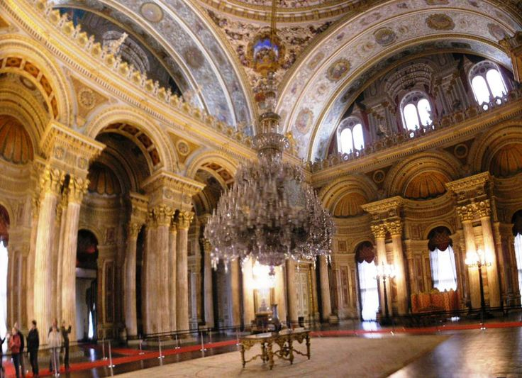 Dolmabahce Palace, Turkey-- Ceremonial Hall with Chandelier gifted to the sultan by Queen Victoria playing politics to get the Sutan away from the dangers of Russia. England formed an alliance with The Ottoman Empire.