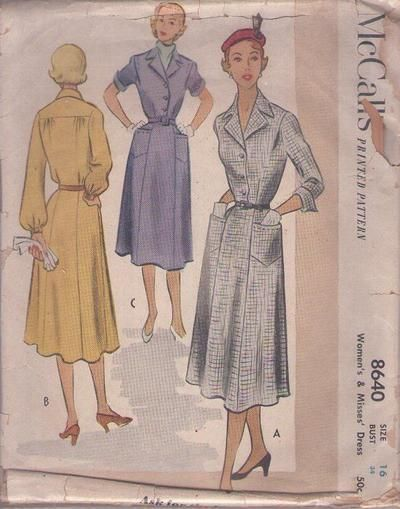 MOMSPatterns Vintage Sewing Patterns - McCall's 8640 Vintage 50's Sewing Pattern CLASSIC Lucy Afternoon Smooth Front & Back Panel Day Dress,...