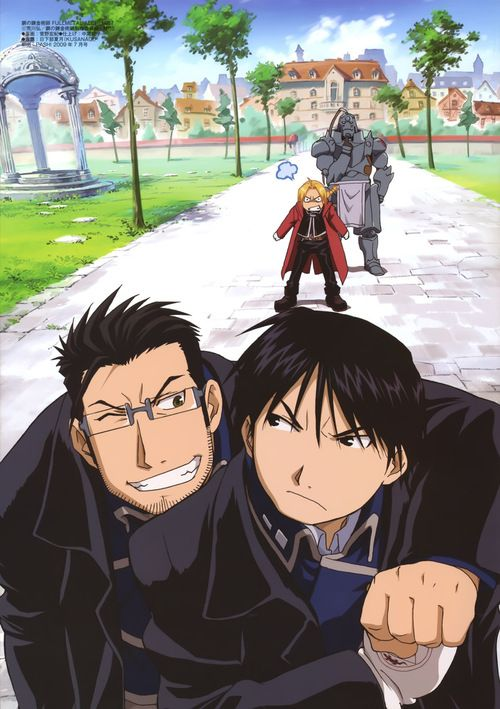 Fullmetal Alchemist: Brotherhood - Maes Hughes, Roy Mustang, Edward and Alphonse Elric.
