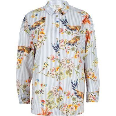 Womens Blue stripe and bird print shirt