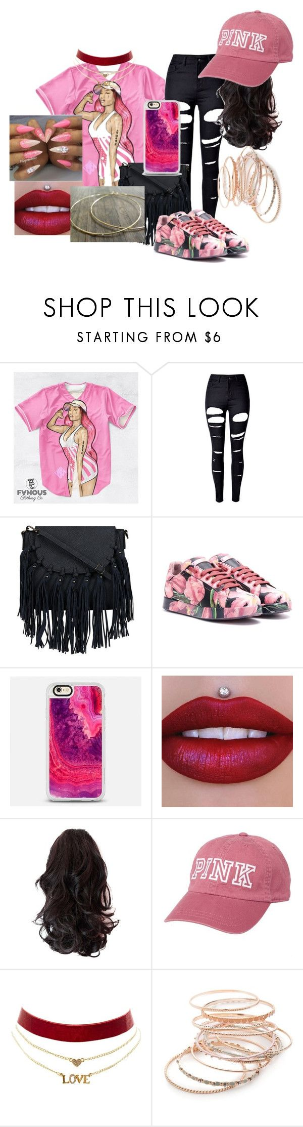 """""""Nicki baby"""" by lilshawtyt ❤ liked on Polyvore featuring beauty, Nicki Minaj, WithChic, Dolce&Gabbana, Casetify, Victoria's Secret, Charlotte Russe and Red Camel"""