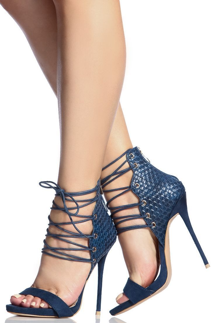 a70e0789f723 Navy Faux Suede Lace Up Single Sole Stiletto Heels   Cicihot Heel Shoes  online store sales