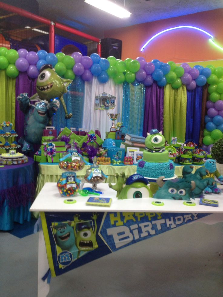 Decoraci n de monster university fiestas infantiles for Decoracion pared infantil