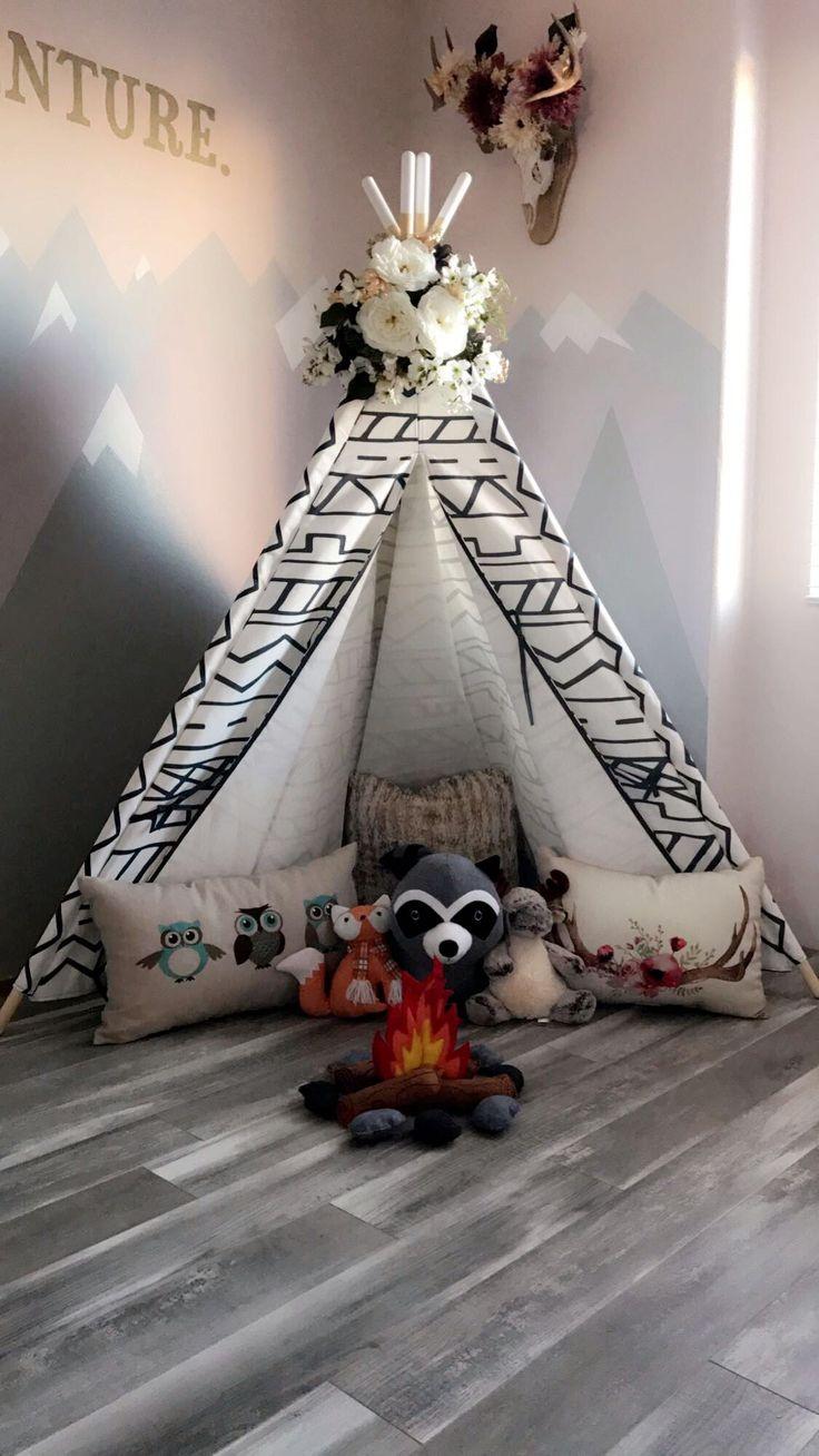 Woodland tribal playroom theme with teepee and mountain walls #mountain #walls #teepee #tribal #playroom #kids #bedroom