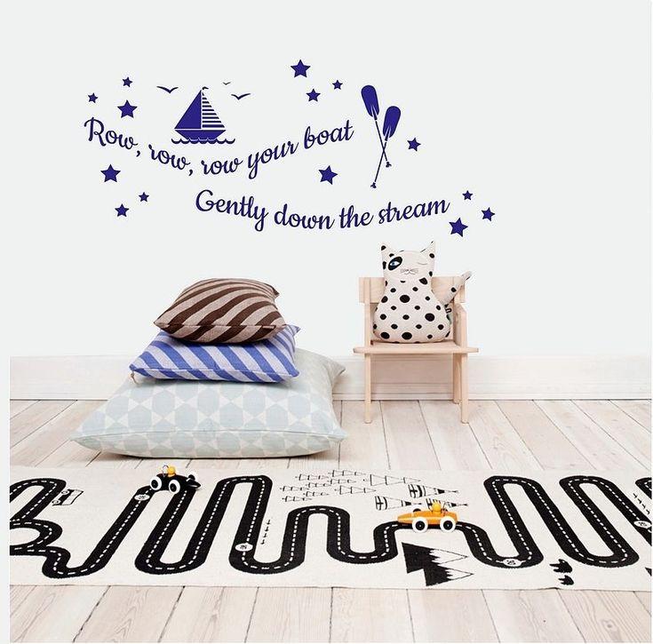 Row Row Row Your #Boat, Vinyl Wall #Art Sticker Kids #Bedroom