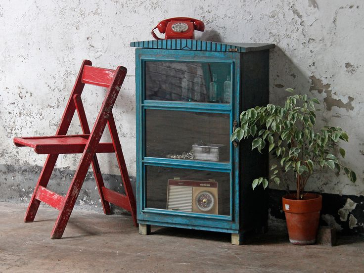 Blue Glass Display Cabinet from Scaramanga's unique vintage furniture and interiors #decorideas #vintagefurniture #homedecor